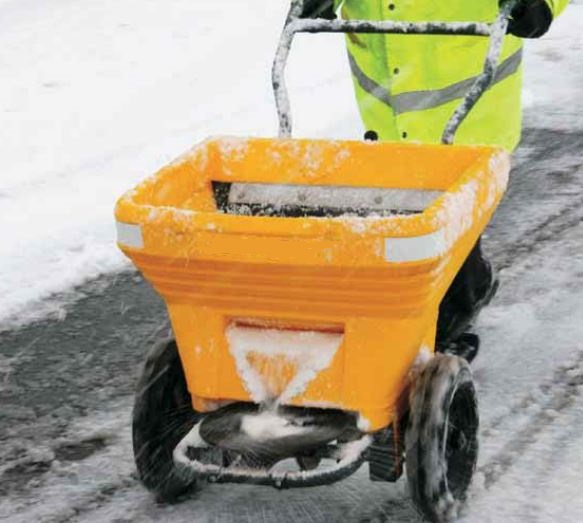 Gritting walkways in winter